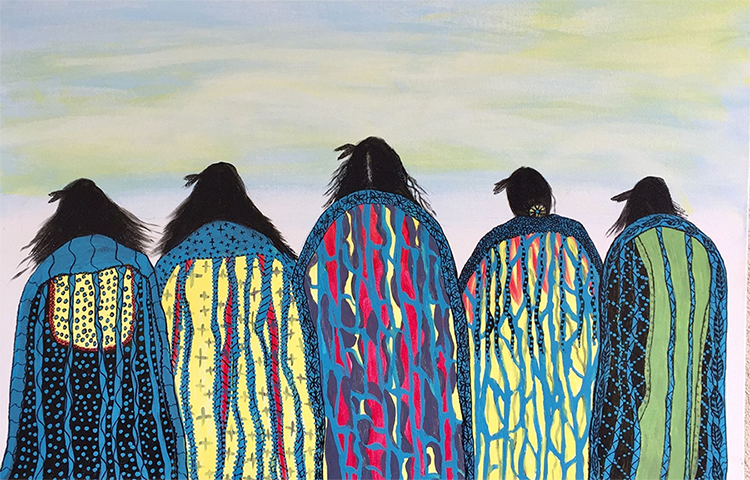 This artwork represents five indigenous forms facing the horizon. Wisps of hair flutter in the wind, as they wait patiently for the return of their loved ones. The calming landscape is adorned with the richness of their colorful detailed blankets